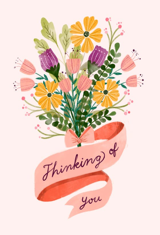Handmade card Sympathy card Encouragement card Missing you card Card with flowers Friendship card Sending Hugs card