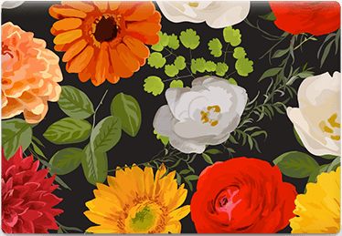 Floral Black - Printable Envelope Template