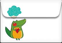 Alligator Love- Printable Envelope Template