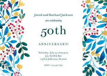 Blue & Red - Anniversary Invitation