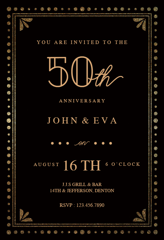 Fancy Night Anniversary Invitation Template Free