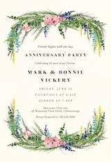 Floral pine - Anniversary Invitation