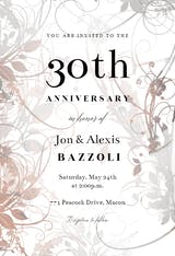 Floral Swirls - Anniversary Invitation