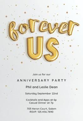 Forever Balloons - Anniversary Invitation