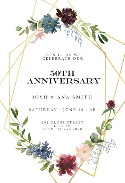 Anniversary Invitation Templates Free Greetings Island