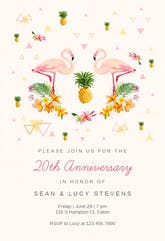 Tropical flamingo - Anniversary Invitation