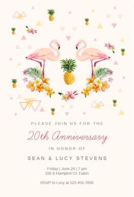 Tropical flamingo - Anniversary Invitation
