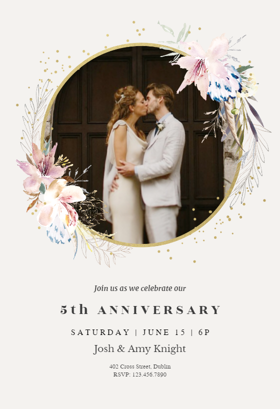 Whimsical Wreath Anniversary Invitation Template