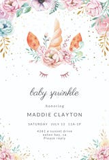 Floral unicorn - Baby sprinkle Invitation