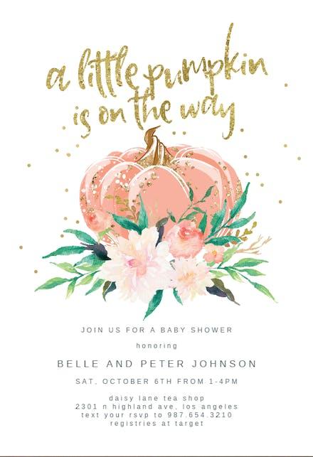 A Little Pumpkin Baby Shower Invitation Template Free