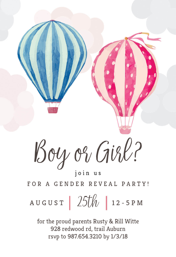 photo relating to Free Printable Gender Reveal Invitations identified as Gender Demonstrate Invitation Templates (No cost) Greetings Island