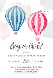 air balloon reveal gender reveal invitation