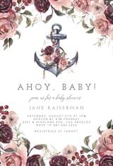 Anchor And Floral Frame - Invitación Para Baby Shower