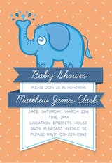 Baby Elephant - Baby Shower Invitation