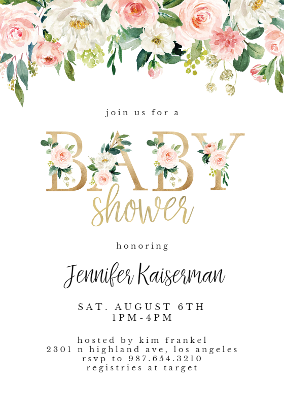 Baby shower floral letters Baby Shower Invitation