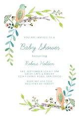 Bird Wreath - Baby Shower Invitation