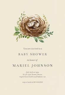 Birds nest - Baby Shower Invitation