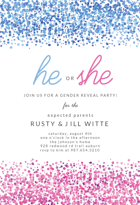 Gender Reveal Invitation Template (Free