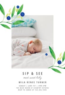 Blueberry fields - Sip & See Invitation Template