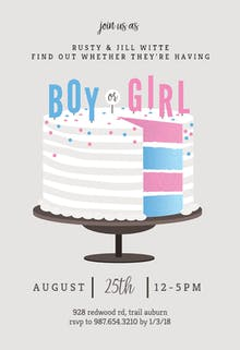 Free gender reveal invitation templates greetings island cake slice gender reveal invitation stopboris Image collections