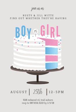 Cake Slice - Gender Reveal Invitation
