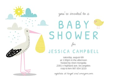 Clouds & Stork - Baby Shower Invitation
