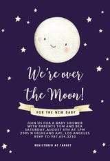 Cute Moon - Baby Shower Invitation