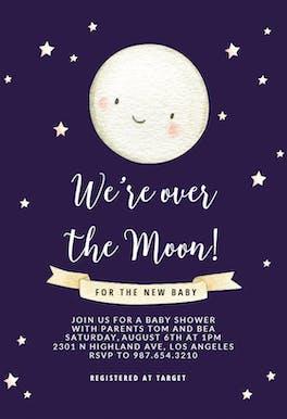Cute Moon - Baby Shower Invitation
