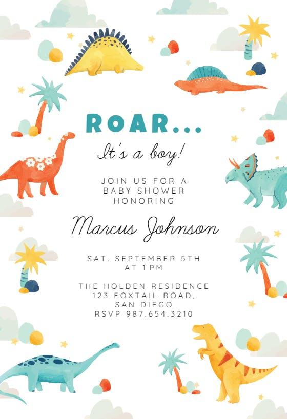 Baby Dinosaurs Printed Baby Shower Invitation