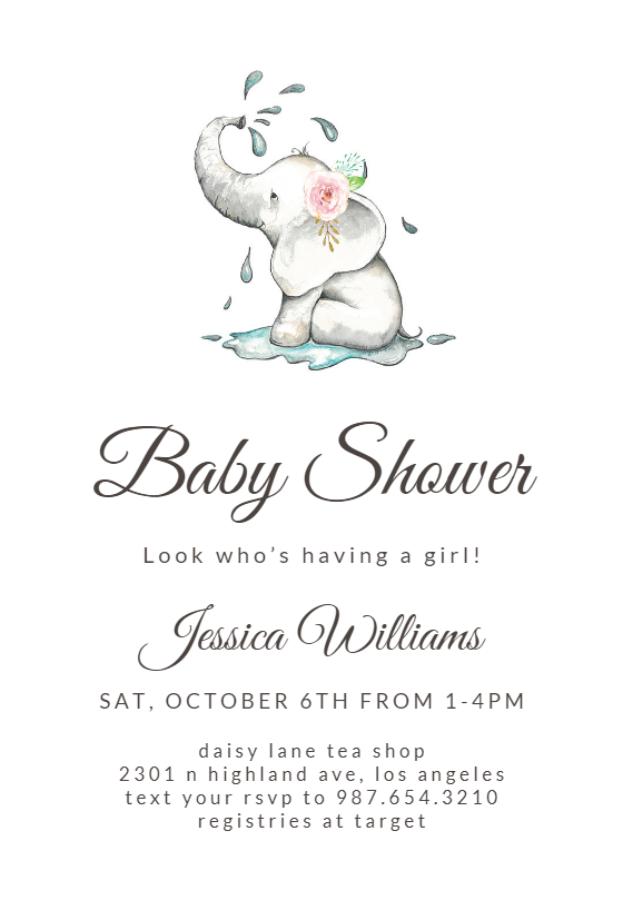 Elegant Elephant Baby Shower Invitation Template Free