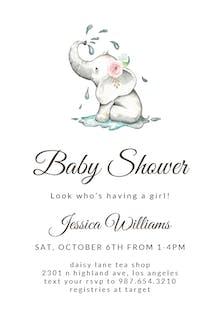Elegant Elephant - Baby Shower Invitation