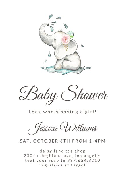 Elegant Elephant Baby Shower Invitation