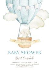 Elephant Air Balloon - Baby Shower Invitation