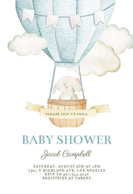 Elephant Air Balloon Baby Shower Invitation Template