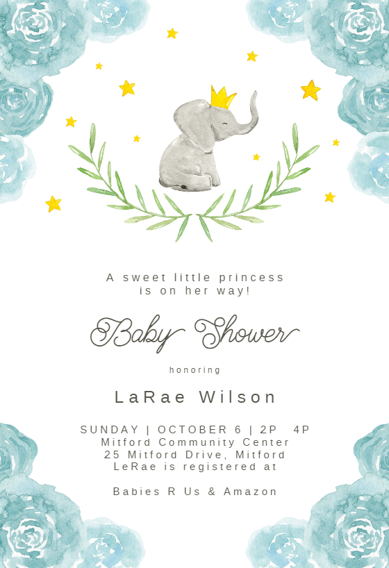 picture relating to Free Printable Elephant Baby Shower Invitations called Youngster Shower Invitation Templates (No cost) Greetings Island