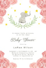 Elephant and floral wreath - Baby Shower Invitation