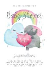 Elephant Cloud Rainbow - Baby Shower Invitation