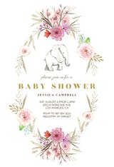Elephant Flower Wreath - Baby Shower Invitation