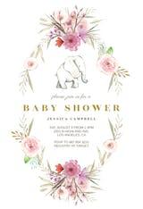 Elephant Flower Wreath - Invitación Para Baby Shower
