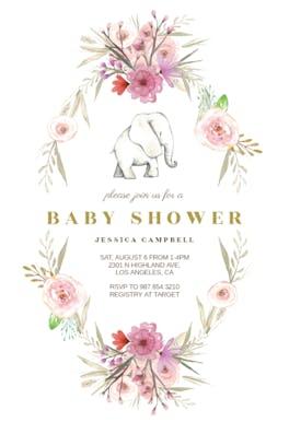 Elephant Flower Wreath - Baby Shower Invitation