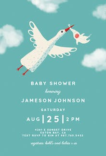 Fair Skies Pink - Baby Shower Invitation