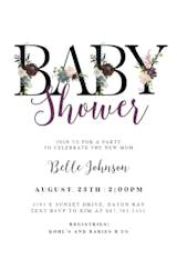 Floral Letters - Invitación Para Baby Shower