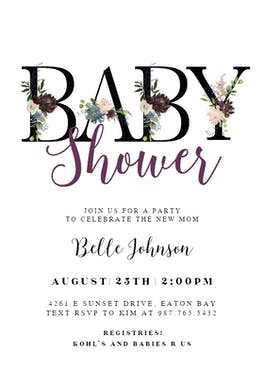 Floral Letters - Baby Shower Invitation