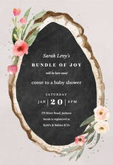 Floral wood slice - Baby Shower Invitation