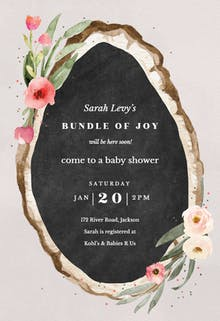 Floral wood slice - Baby Shower Invitation