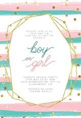 Geometric polygon & stripes - Gender Reveal Invitation