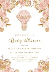 Glitter Hot Air Balloon - Baby Shower Invitation