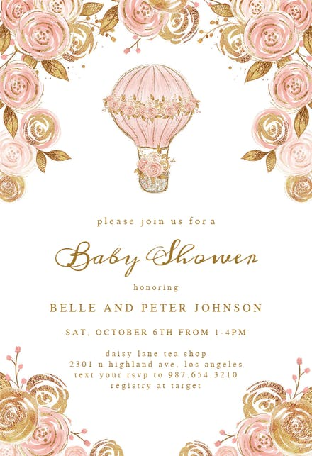 Glitter Hot Air Balloon Baby Shower Invitation