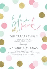 Glitter Polka dots - Gender Reveal Invitation