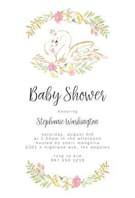 Glitter Swans - Baby Shower Invitation